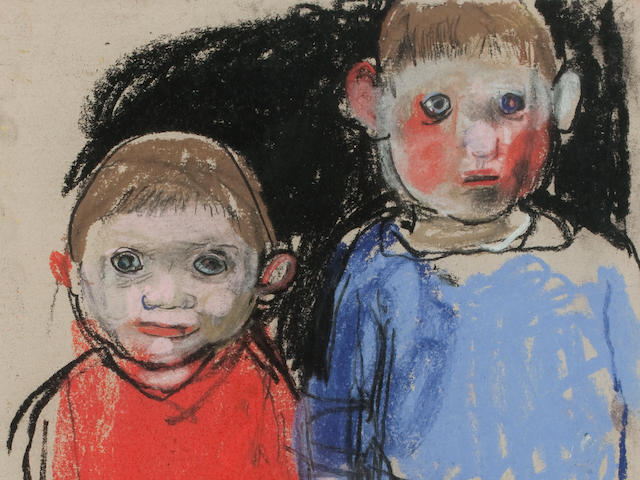 Joan Eardley RSA (British, 1921-1963) Shuggie & Jamesie 29.5 x 21.5 cm. (11 5/8 x 8 7/16 in.)