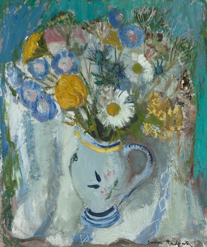 Anne Redpath OBE RSA ARA LLD ARWS ROI RBA (British, 1895-1965) Flowers in a French Jug 60 x 50.5 cm. (23 5/8 x 19 7/8 in.)