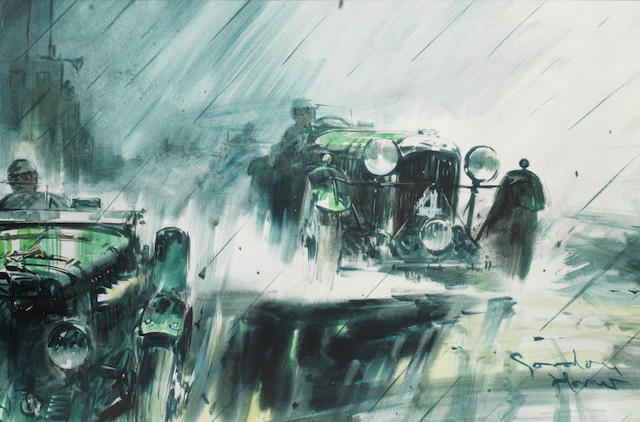 Gordon Horner (British 1915-2006), 'Lagonda M45 at Le Mans 1935',