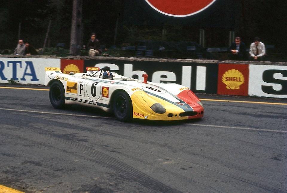 The Ex-works Vic Elford/Richard Attwood, Ex-Martini International Team Dr Helmut Marko/Rudi Lins, Gerard Larrousse3rd place overall at Le Mans,1969-70 Porsche 908.02 'Flunder' Langheck Group 6 Racing Sports-Prototype  Chassis no. 908.02-05
