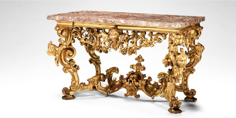 A Roman early 18th century giltwood console table