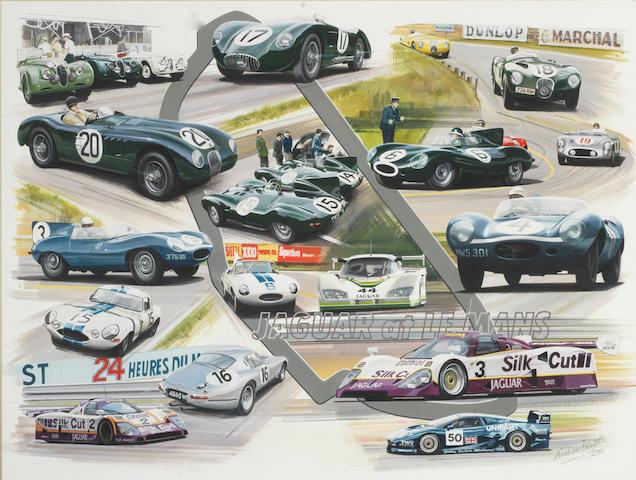 Graham Bosworth (British 1944- ), 'Jaguar at Le Mans',