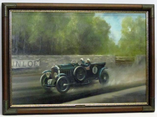 Dion Pears (1929-1985); 'Sir Henry 'Tim' Birkin, 4½ Litre Blower Bentley at Le Mans',