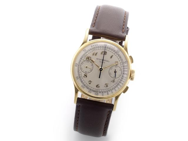 Patek Philippe. A fine and rare 18ct gold manual wind chronograph wristwatch with Breguet numerals Ref:130, Case No.646763, Movement No.863870, Circa 1947