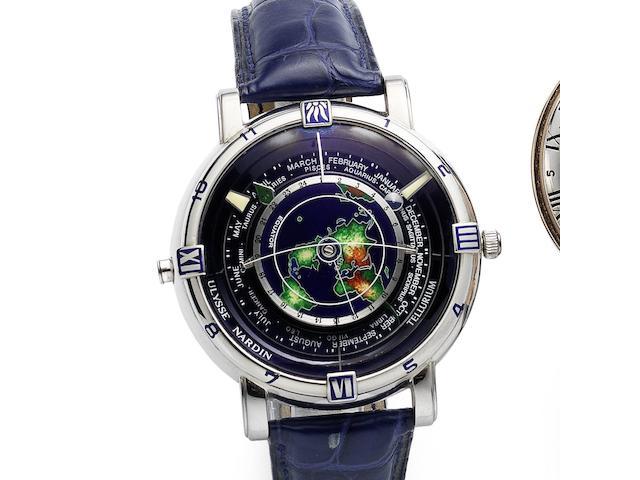 Ulysse Nardin. A fine and rare platinum automatic astronomical wristwatch Tellerium, Ref:889-99, No.42/99, Circa 1992