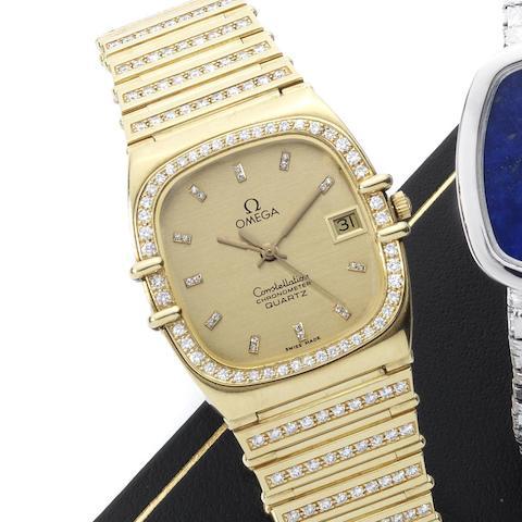 Omega. An 18ct gold and diamond set quartz calendar bracelet watch Constellation, Ref:1431, Case No.2980019, Movement No.14872248, Circa 1980