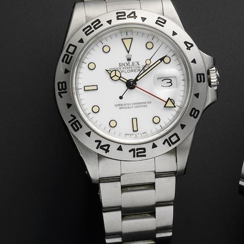 Rolex. A stainless steel automatic calendar bracelet watch Explorer II, Ref:16550, Serial No.R38****, Movement No.187****, Circa 1987