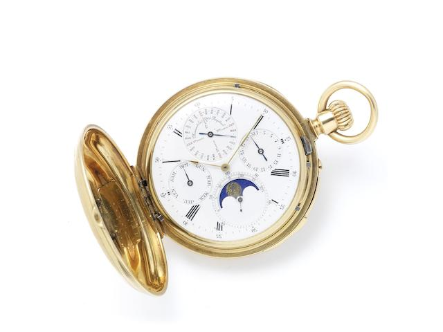 Patek Philippe. A very fine and very rare late 19th Century perpetual calendar minute repeating full hunter pocket watch with phases of the moon Case No.48389, Sold April 19th 1881