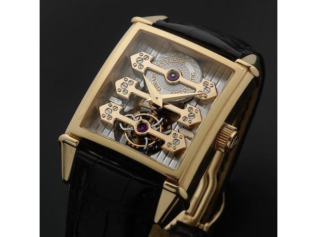 Girard Perregaux. A very fine and rare 18ct rose gold automatic tourbillon wristwatch with presentation box and papers Vintage 45 with 3 Bridges, No.10R, Ref:9989, Dial No.9600CS, Sold 19th December 2005