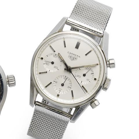 Heuer. A stainless steel manual wind chronograph bracelet watch  Carrera, Ref:54149, Circa 1962