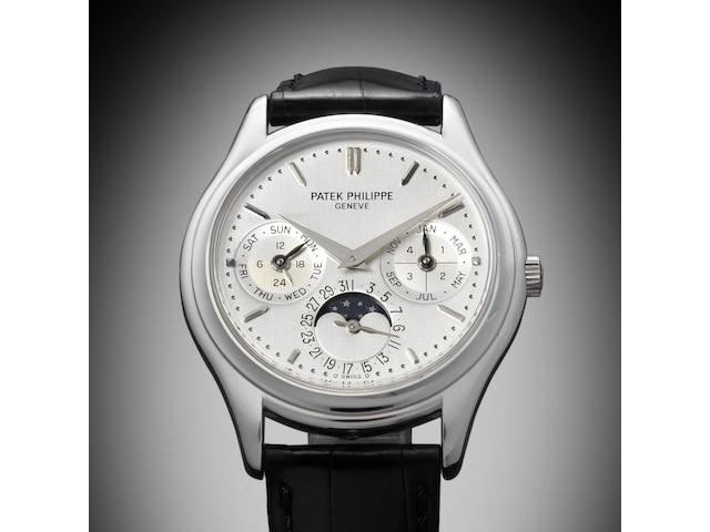 Patek Philippe. A fine and rare platinum automatic perpetual calendar wristwatch with winding box Ref:3940P, Case No.4316005, Movement No.3128485, Circa 2005