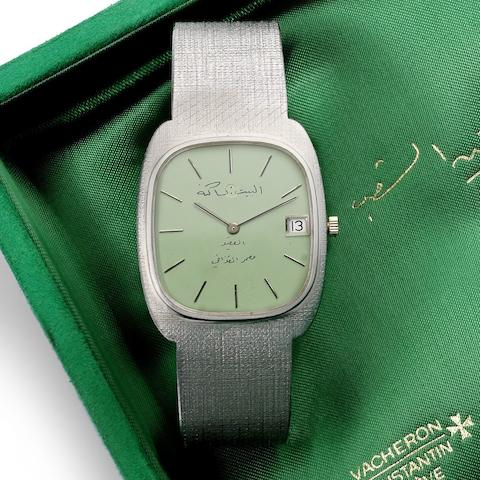 Vacheron Constantin. A fine 18ct white gold bracelet watch with 'mint green' dial made for the Libyan market Ref:2045, Circa 1976