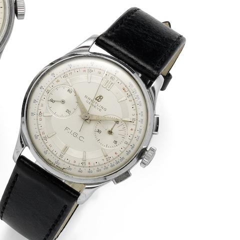 Breitling. A fine and rare stainless steel manual wind chronograph wristwatch Case No.865599, Case back No.1190, Circa 1950