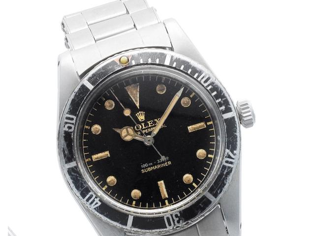 Rolex. A rare stainless steel automatic bracelet watch Submariner, Ref:6536/1, Serial No.399***, Movement No.N893617, Circa 1959