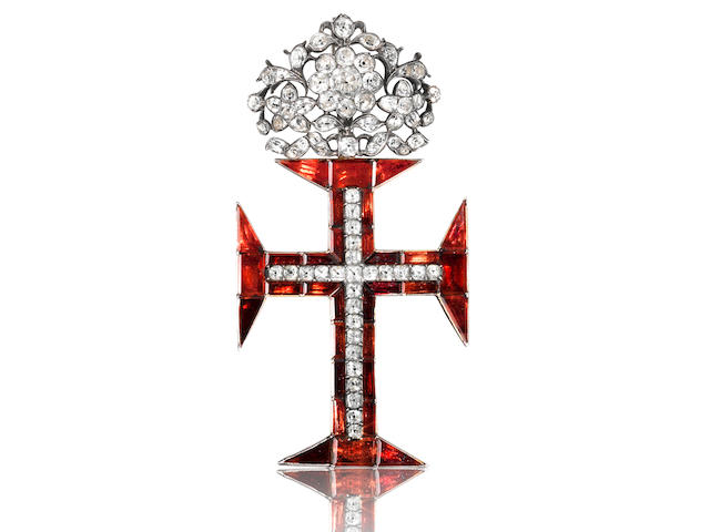 An 18th century white topaz, garnet and gold Cross of the Portuguese Order of Christ,