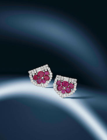 A pair of art deco ruby and diamond clip brooches, by Cartier,