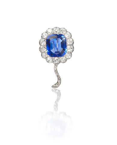 A late 19th century sapphire and diamond flower brooch