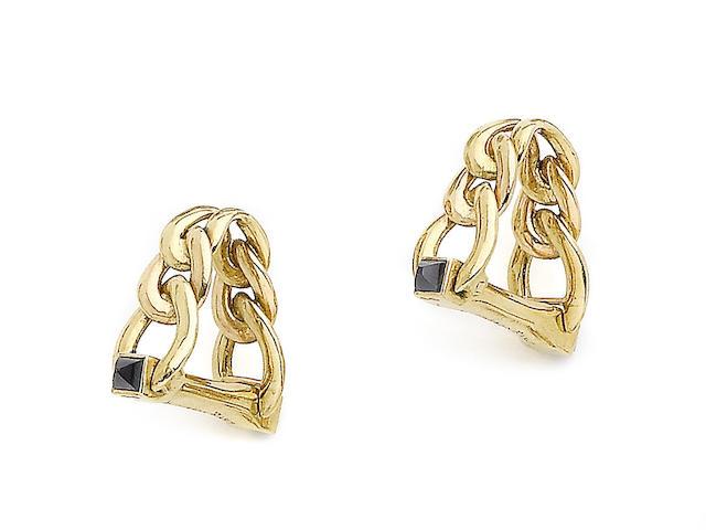 A pair of sapphire cufflinks, by Boucheron