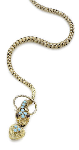 A mid 19th century gem-set serpent necklace,