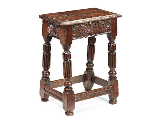 A rare Elizabeth I oak joint stool, circa 1580-1600
