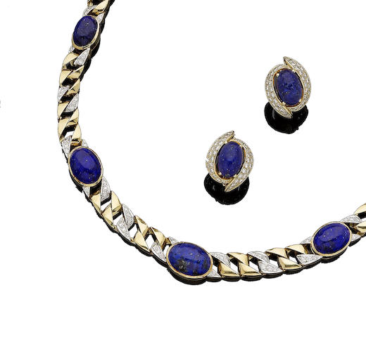 A lapis lazuli and diamond necklace and earclip suite (2)