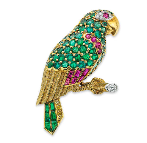 A mid 20th century gem-set parrot brooch, by Cartier