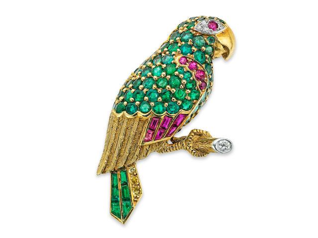 A mid 20th century gem-set parrot brooch, by Cartier