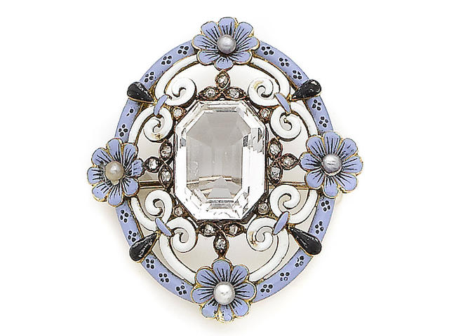 A rock crystal, enamel, seed pearl and rose-cut diamond brooch,