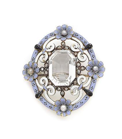 A rock crystal, enamel, seed pearl and diamond brooch,