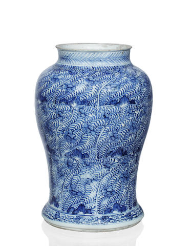 A blue and white baluster vase Kangxi