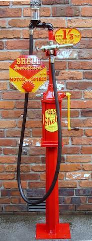 A Bennett hand-cranked one gallon petrol pump,