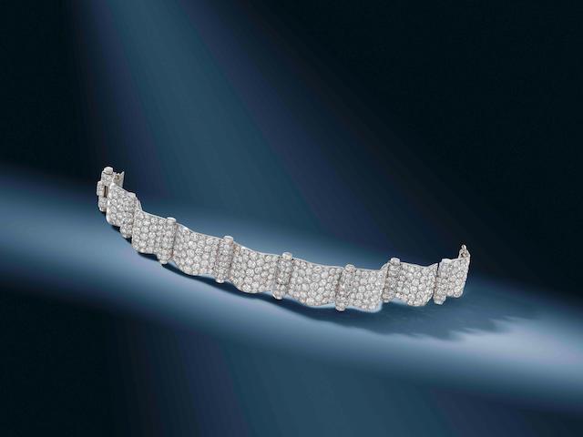 An art deco diamond bracelet, by Cartier,