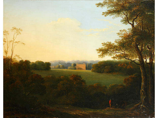 Circle of James Arthur O'Connor  (Irish, 1792-1841) A view of a country house with figures in the foreground