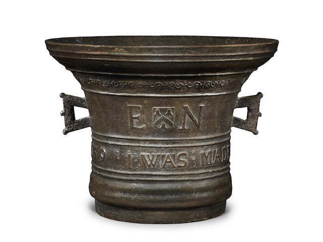 A large, finely cast and important Commonwealth leaded bronze mortar, dated 1659, made for Francis Keble of Burford, Mercer [1637 - 1686], by Edward Neale of Burford [fl. c. 1640 - 1695]