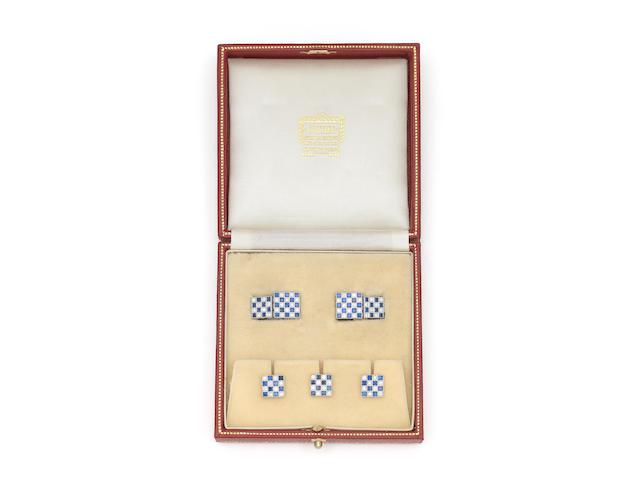 A platinum, sapphire and diamond dress set, by Cartier,  (4)