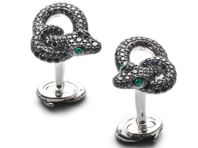 A pair of gem-set 'Protector' cufflinks, by Asprey,