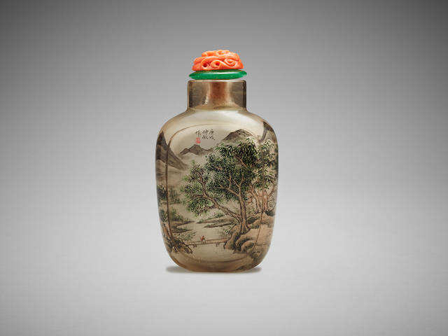 A Chinese inside painted 'landscape' snuff bottle Dated 1910
