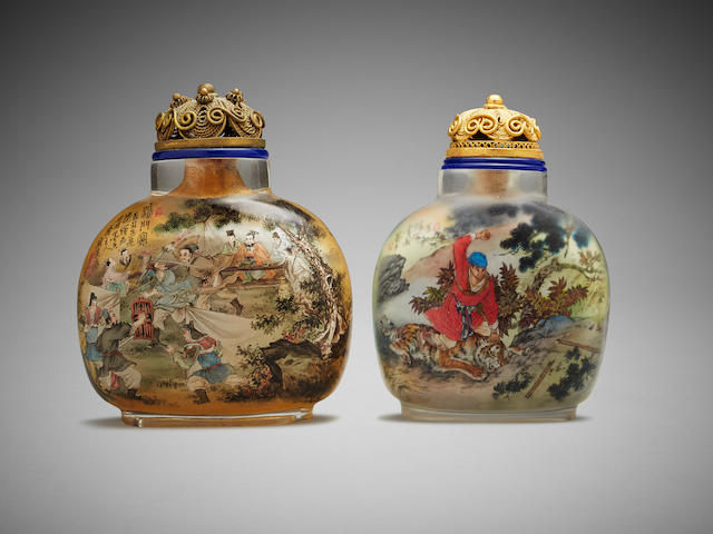 Two Chinese inside painted glass snuff bottles Yi Zi, Chen Runpu (b. 1946), early to mid 20th century (2)