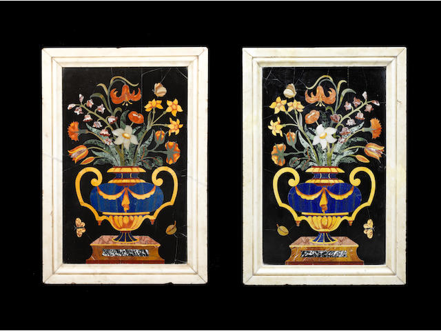 A pair of large Italian 19th century pietre dure panels of flowers after the 17th century model by the Corbarelli workshop, now in the church of Santa Giustina, Padua (2)