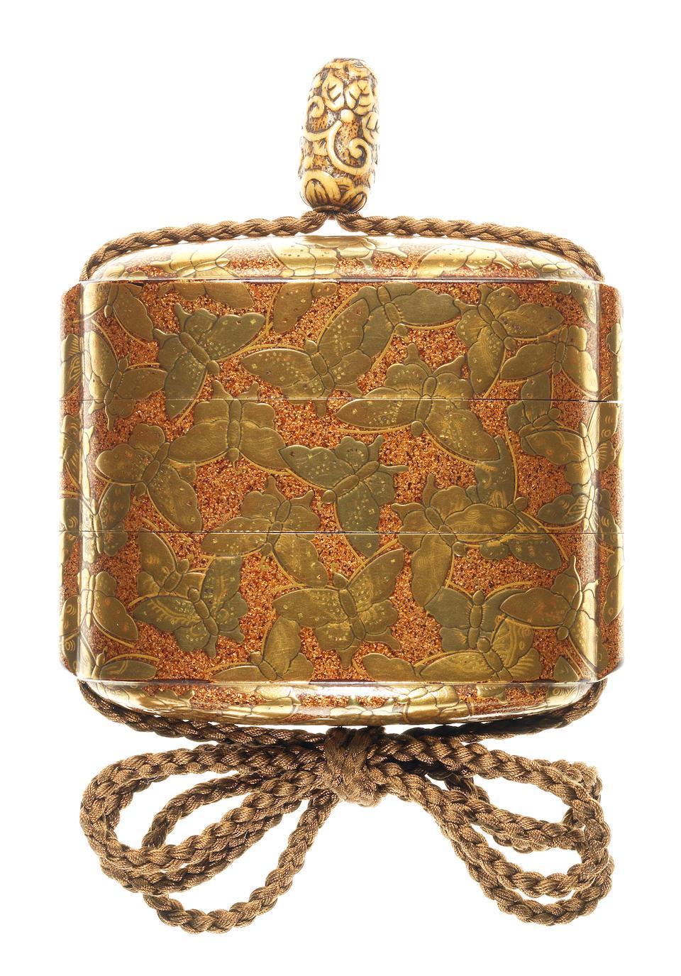 A rare gold-lacquer two-case inro  By Koami Shoho (Masamine), 18th century