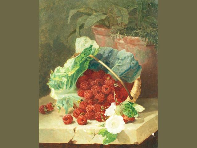 Eloise Harriet Stannard (British, circa 1828-1915) Still life of raspberries