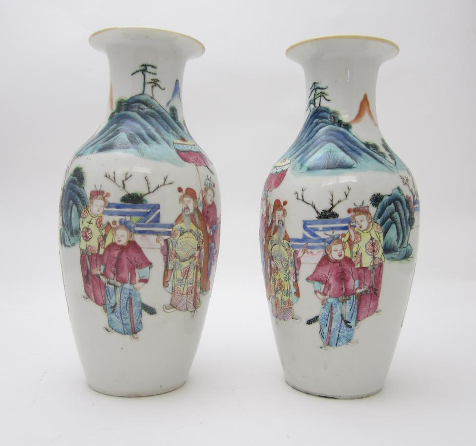 A pair of mirrored famille rose vases 19th century