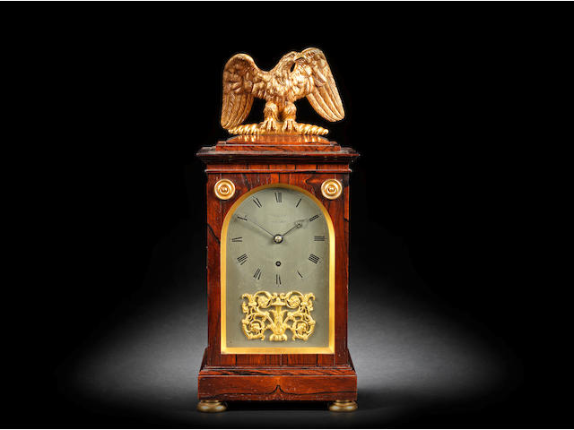 A very fine and rare second quarter of the 19th century ormolu-mounted, rosewood quarter repeating table clock Vulliamy, London, No. 917