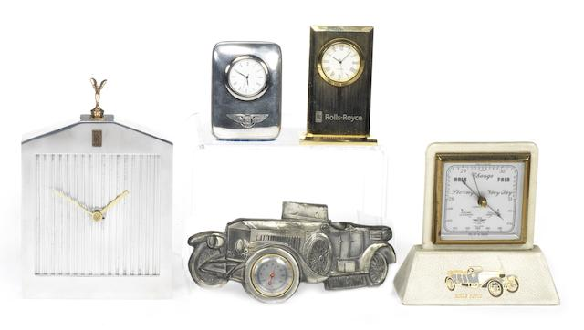 FIVE ROLLS-ROYCE AND BENTLEY THEMED CLOCKS AND INSTRUMENTS,  ((5))