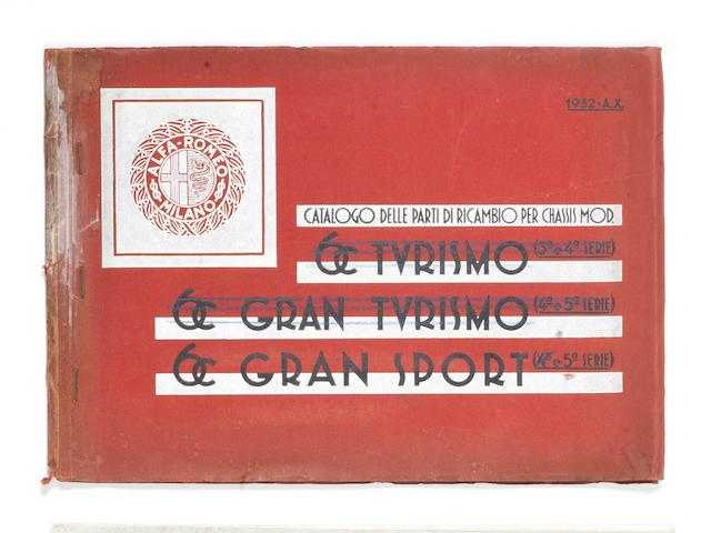 A 1932 Alfa Romeo 6C Gran Sport parts catalogue,