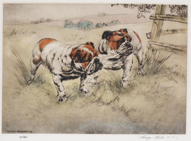 Henry Wilkinson A.R.E., A.R.C.A. (British, 1921-2011) Two bulldogs in a field