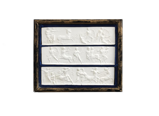After John Henning (English, 1771-1851): A set of eighteen 19th century relief cast plaster figural plaques after the Parthenon frieze (6)