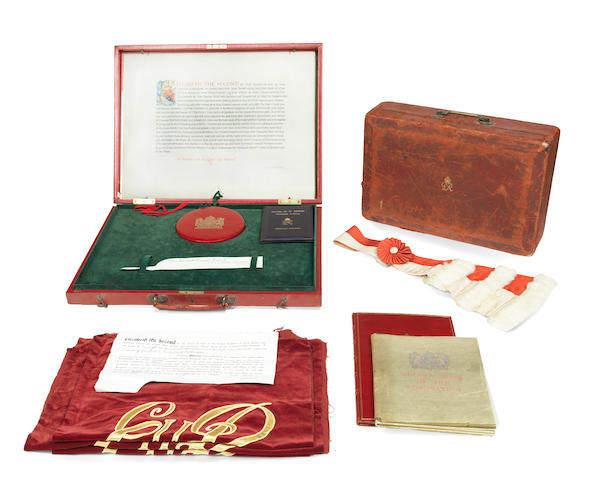 ROYALTY - CORONATION OF ELIZABETH II Small group of items relating to Gavin Turnbull Simonds, Viscount Simonds, Lord Chancellor during the Coronation, [1952], all contained within a large red morocco case and Lord Chancellor's personalized dispatch box with royal monogram