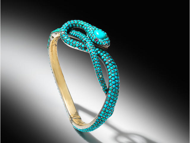 A mid 19th century turquoise snake hinged bangle, a brooch and two pairs of earrings (4)