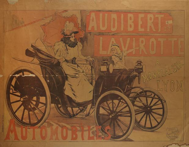 RARE AFFICHE PUBLICITAIRE POUR AUTOMOBILES AUDIBERT ET LAVIROTTE, EN FRANÇAIS, 1896,